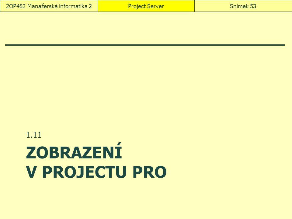 ZOBRAZENÍ V PROJECTU PRO 1.11 Project ServerSnímek 532OP482 Manažerská informatika 2