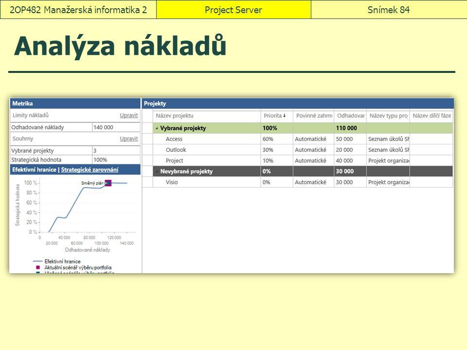 Analýza nákladů Project ServerSnímek 842OP482 Manažerská informatika 2