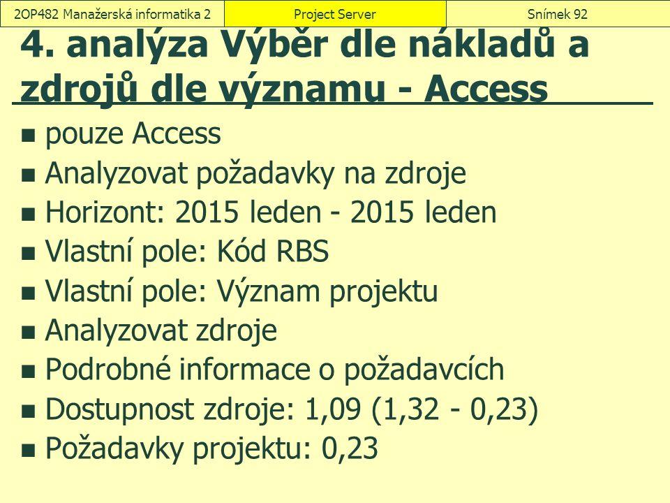 4. analýza Výběr dle nákladů a zdrojů dle významu - Access pouze Access Analyzovat požadavky na zdroje Horizont: 2015 leden - 2015 leden Vlastní pole: