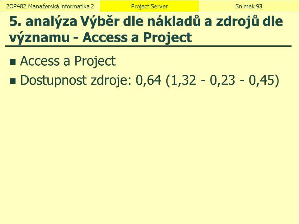 5. analýza Výběr dle nákladů a zdrojů dle významu - Access a Project Access a Project Dostupnost zdroje: 0,64 (1,32 - 0,23 - 0,45) Project ServerSníme