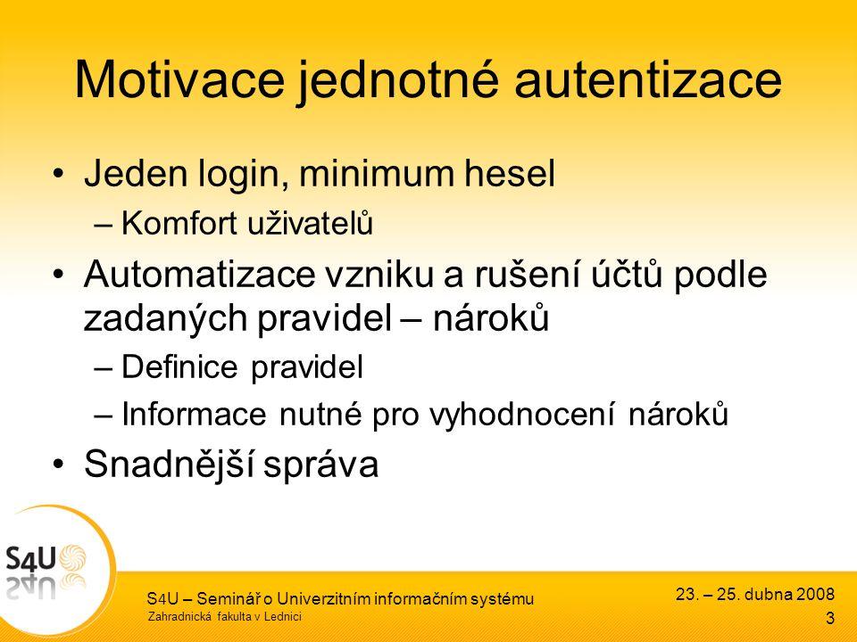 Zahradnická fakulta v Lednici 23. – 25. dubna 2008 S 4 U – Seminář o Univerzitním informačním systému 3 Motivace jednotné autentizace Jeden login, min