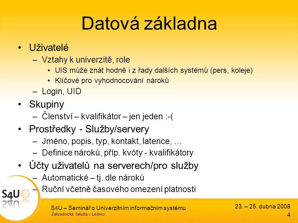 Zahradnická fakulta v Lednici 23. – 25. dubna 2008 S 4 U – Seminář o Univerzitním informačním systému 4 Datová základna Uživatelé –Vztahy k univerzitě