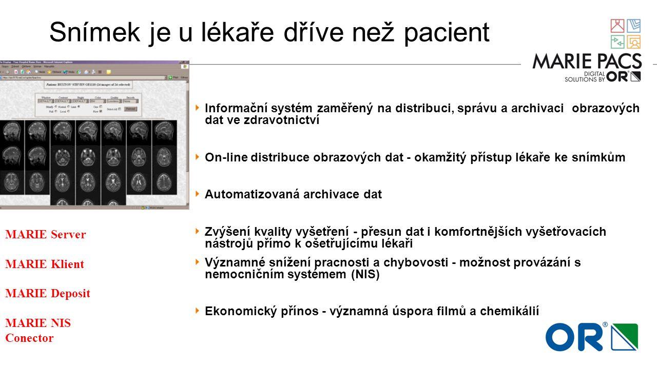Snímek je u lékaře dříve než pacient Informační systém zaměřený na distribuci, správu a archivaci obrazových dat ve zdravotnictví On-line distribuce o