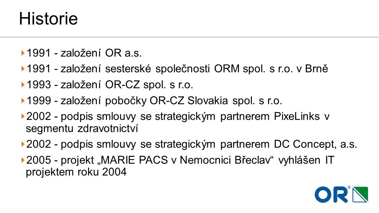 Historie 1991 - založení OR a.s. 1991 - založení sesterské společnosti ORM spol. s r.o. v Brně 1993 - založení OR-CZ spol. s r.o. 1999 - založení pobo