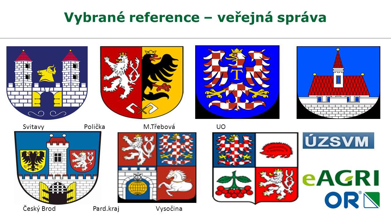 Vybrané reference – veřejná správa Svitavy Polička M.Třebová UO Český Brod Pard.kraj Vysočina