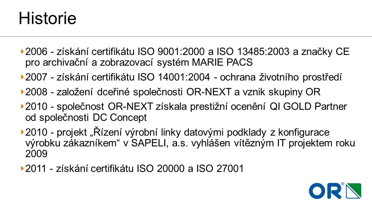 Historie 2006 - získání certifikátu ISO 9001:2000 a ISO 13485:2003 a značky CE pro archivační a zobrazovací systém MARIE PACS 2007 - získání certifiká