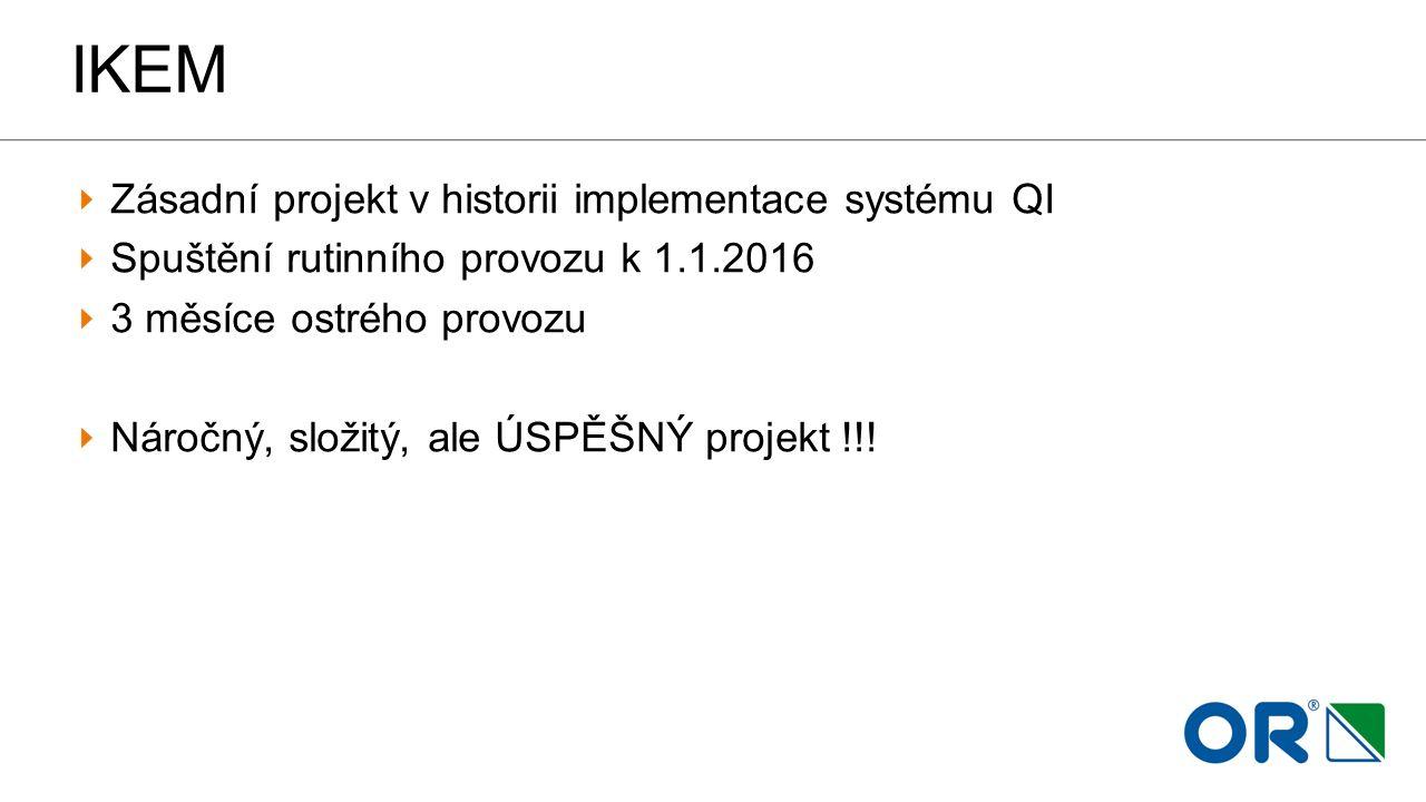 IKEM Zásadní projekt v historii implementace systému QI Spuštění rutinního provozu k 1.1.2016 3 měsíce ostrého provozu Náročný, složitý, ale ÚSPĚŠNÝ p