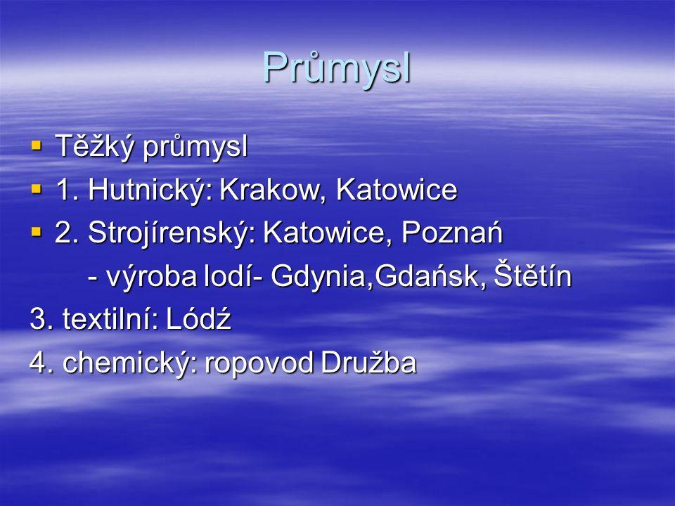 Průmysl  Těžký průmysl  1. Hutnický: Krakow, Katowice  2.