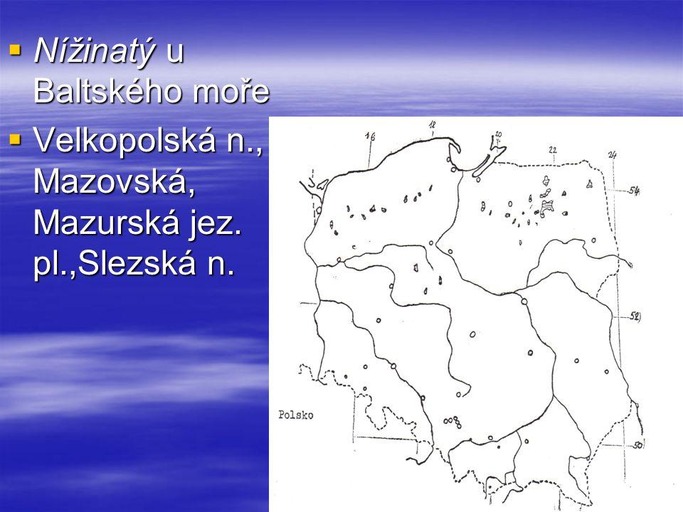  Nížinatý u Baltského moře  Velkopolská n., Mazovská, Mazurská jez. pl.,Slezská n.