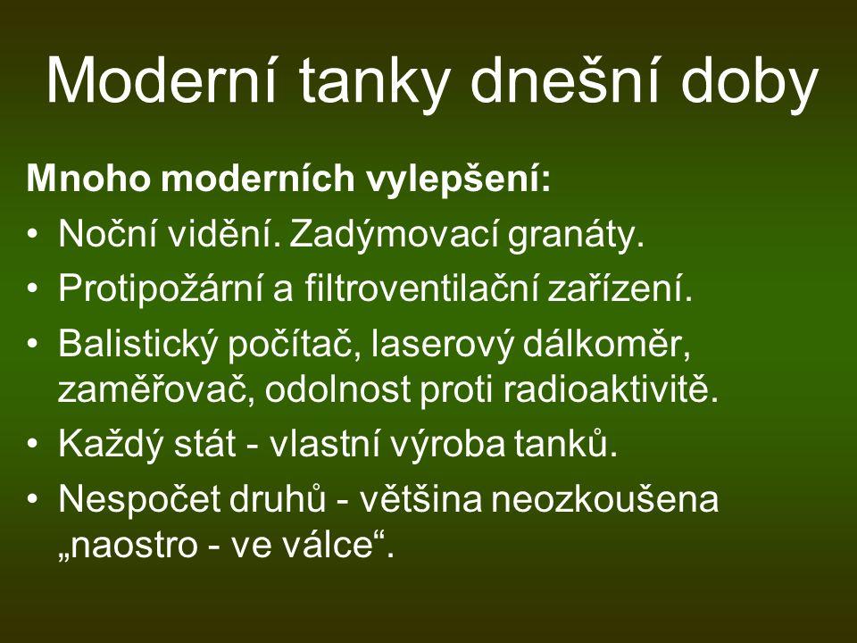Moderní tanky dnešní doby Mnoho moderních vylepšení: Noční vidění. Zadýmovací granáty. Protipožární a filtroventilační zařízení. Balistický počítač, l