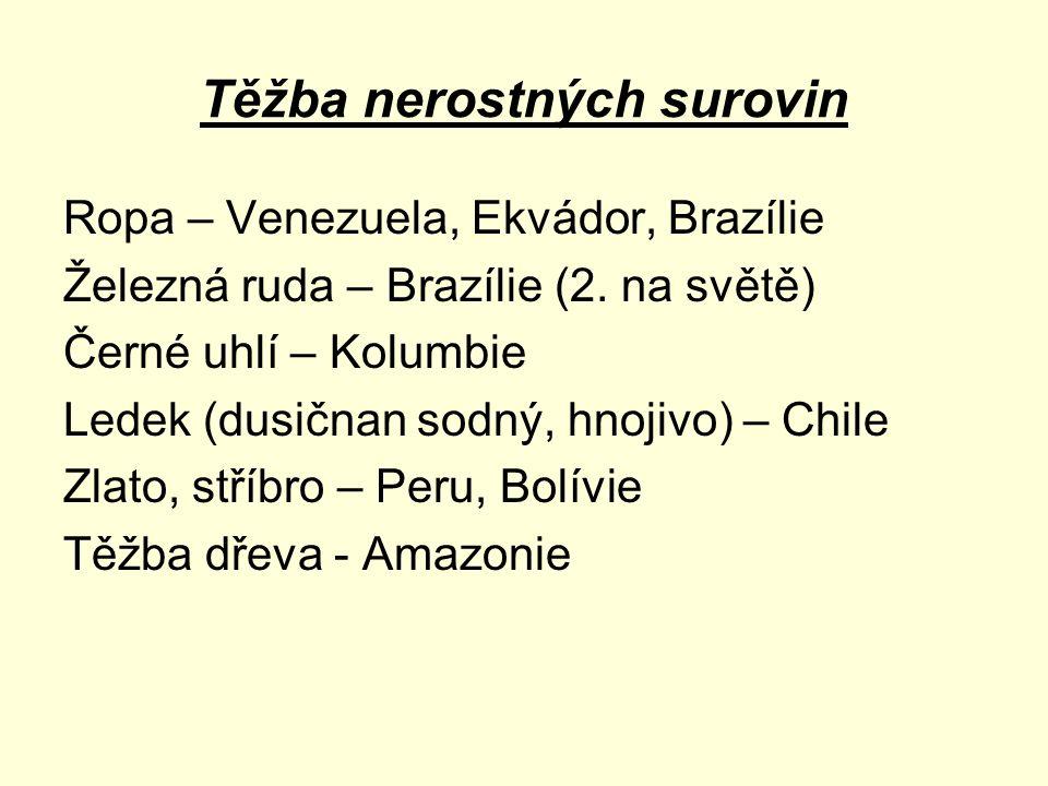 Těžba nerostných surovin Ropa – Venezuela, Ekvádor, Brazílie Železná ruda – Brazílie (2. na světě) Černé uhlí – Kolumbie Ledek (dusičnan sodný, hnojiv