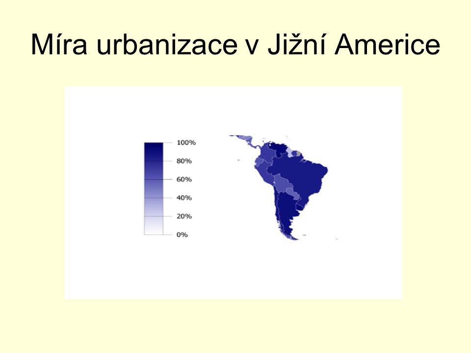 Míra urbanizace v Jižní Americe