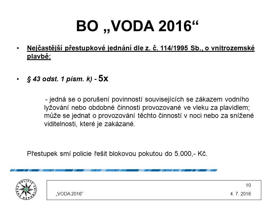 """BO """"VODA 2016"""" Nejčastější přestupkové jednání dle z. č. 114/1995 Sb., o vnitrozemské plavbě: § 43 odst. 1 písm. k) - 5x - jedná se o porušení povinno"""