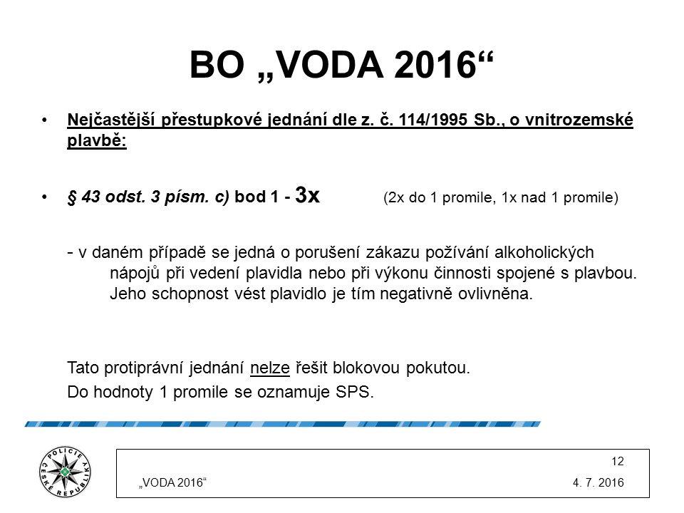 """BO """"VODA 2016"""" Nejčastější přestupkové jednání dle z. č. 114/1995 Sb., o vnitrozemské plavbě: § 43 odst. 3 písm. c) bod 1 - 3x (2x do 1 promile, 1x na"""