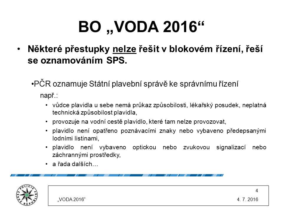 """BO """"VODA 2016"""" Některé přestupky nelze řešit v blokovém řízení, řeší se oznamováním SPS. PČR oznamuje Státní plavební správě ke správnímu řízení např."""