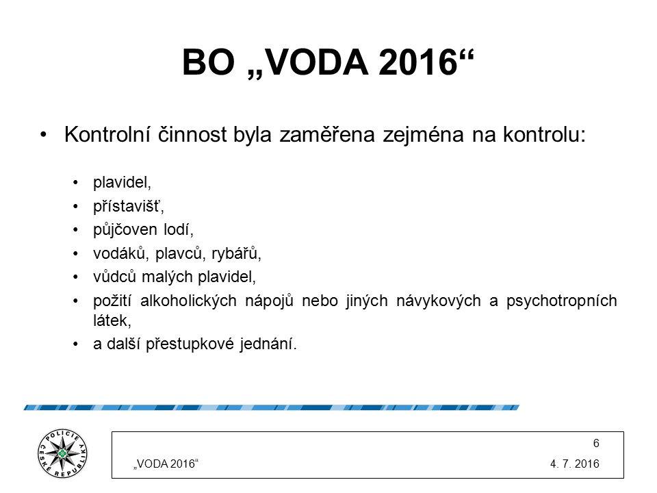 """BO """"VODA 2016"""" Kontrolní činnost byla zaměřena zejména na kontrolu: plavidel, přístavišť, půjčoven lodí, vodáků, plavců, rybářů, vůdců malých plavidel"""
