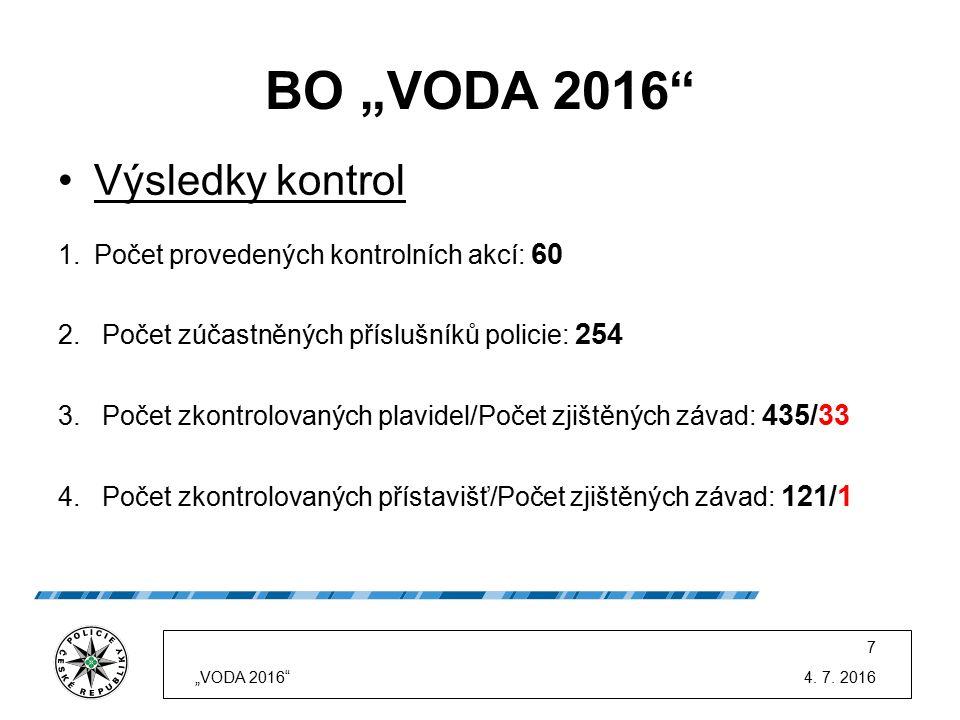 """BO """"VODA 2016"""" Výsledky kontrol 1.Počet provedených kontrolních akcí: 60 2. Počet zúčastněných příslušníků policie: 254 3. Počet zkontrolovaných plavi"""