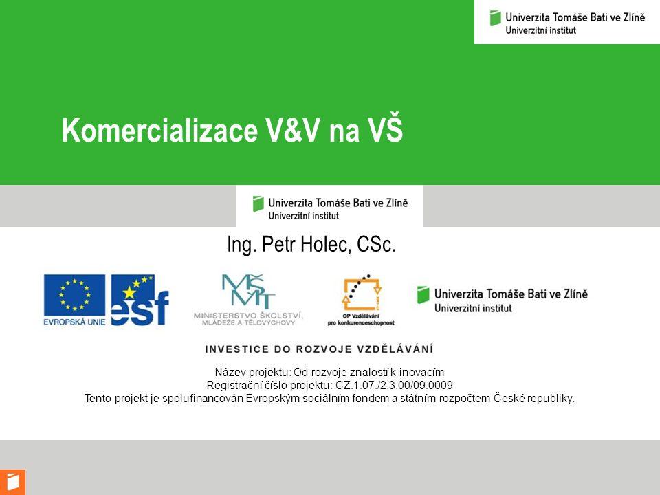 Komercializace V&V na VŠ Ing. Petr Holec, CSc. Název projektu: Od rozvoje znalostí k inovacím Registrační číslo projektu: CZ.1.07./2.3.00/09.0009 Tent