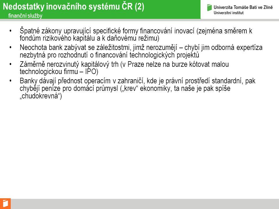 Nedostatky inovačního systému ČR (2) finanční služby Špatné zákony upravující specifické formy financování inovací (zejména směrem k fondům rizikového