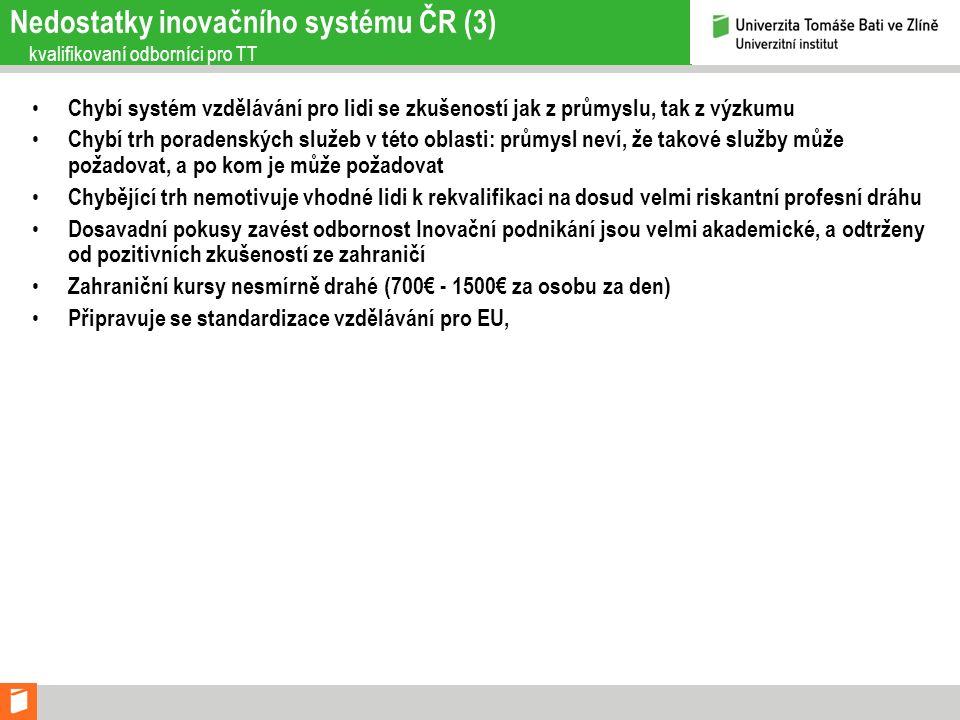 Nedostatky inovačního systému ČR (3) kvalifikovaní odborníci pro TT Chybí systém vzdělávání pro lidi se zkušeností jak z průmyslu, tak z výzkumu Chybí