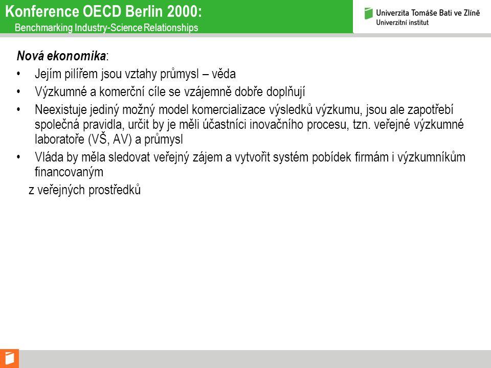 Konference OECD Berlin 2000: Benchmarking Industry-Science Relationships Nová ekonomika : Jejím pilířem jsou vztahy průmysl – věda Výzkumné a komerční