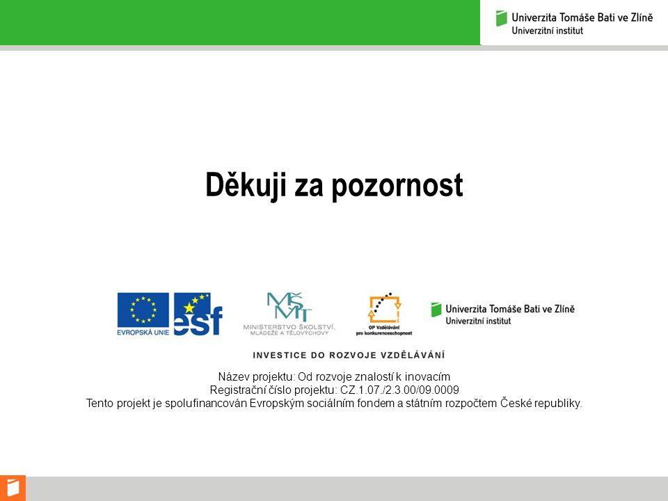 Děkuji za pozornost Název projektu: Od rozvoje znalostí k inovacím Registrační číslo projektu: CZ.1.07./2.3.00/09.0009 Tento projekt je spolufinancová