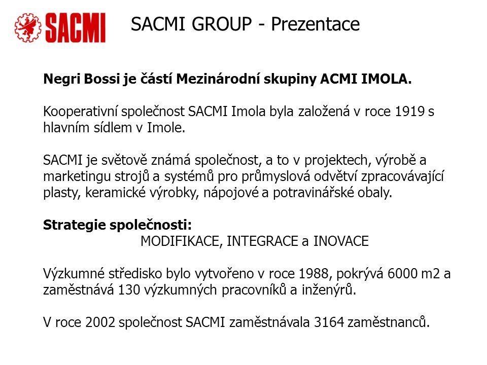 Company overview Negri Bossi je částí Mezinárodní skupiny ACMI IMOLA. Kooperativní společnost SACMI Imola byla založená v roce 1919 s hlavním sídlem v