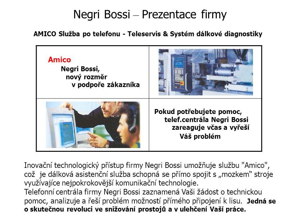 """Negri Bossi – Prezentace firmy AMICO Služba po telefonu - Teleservis & Systém dálkové diagnostiky Amico Negri Bossi, nový rozměr v podpoře zákazníka Pokud potřebujete pomoc, telef.centrála Negri Bossi zareaguje včas a vyřeší Váš problém Inovační technologický přístup firmy Negri Bossi umožňuje službu Amico , což je dálková asistenční služba schopná se přímo spojit s """"mozkem stroje využívajíce nejpokrokovější komunikační technologie."""