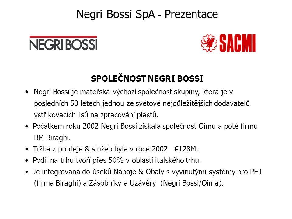 SPOLEČNOST NEGRI BOSSI Negri Bossi je mateřská-výchozí společnost skupiny, která je v posledních 50 letech jednou ze světově nejdůležitějších dodavatelů vstřikovacích lisů na zpracování plastů.