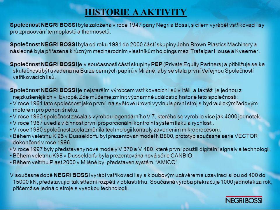 Společnost NEGRI BOSSI byla založena v roce 1947 pány Negri a Bossi, s cílem vyrábět vstřikovací lisy pro zpracování termoplastů a thermosetů.