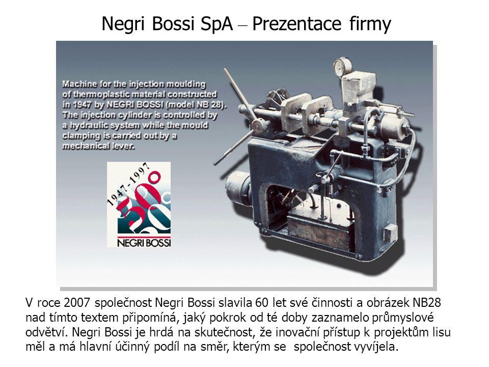 V roce 2007 společnost Negri Bossi slavila 60 let své činnosti a obrázek NB28 nad tímto textem připomíná, jaký pokrok od té doby zaznamelo průmyslové odvětví.