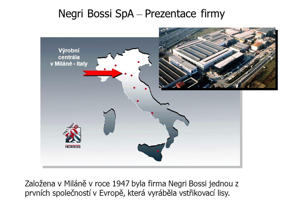 Výrobní centrála v Miláně - Italy Založena v Miláně v roce 1947 byla firma Negri Bossi jednou z prvních společností v Evropě, která vyráběla vstřikova