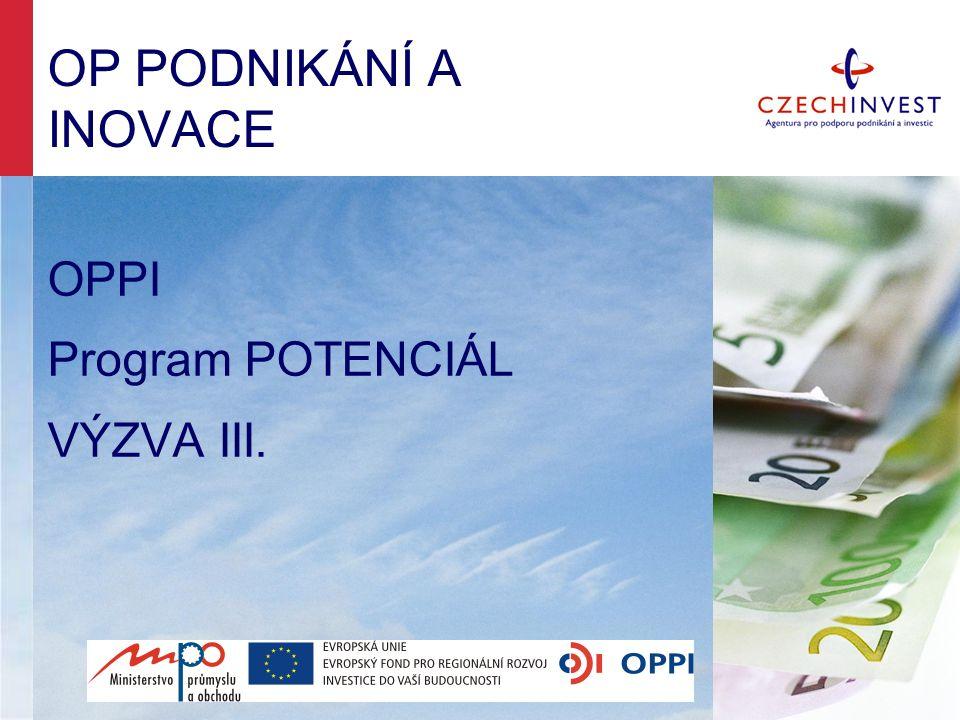 PROGRAM POTENCIÁL - CÍLE 1.Zavádění a zvyšování kapacit pro realizaci výzkumných a vývojových aktivit 2.Zvýšení počtu subjektů provádějících vlastní výzkum, vývoj a inovace 3.Kvalifikovaná pracovní místa 4.Spolupráce s výzkumnými a vývojovými organizacemi 5.Zapojení do národních i evropských programů VaV