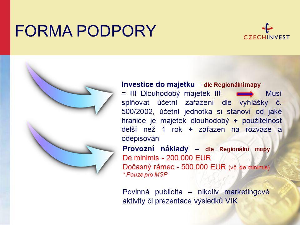 FORMA PODPORY Investice do majetku – dle Regionální mapy = !!.
