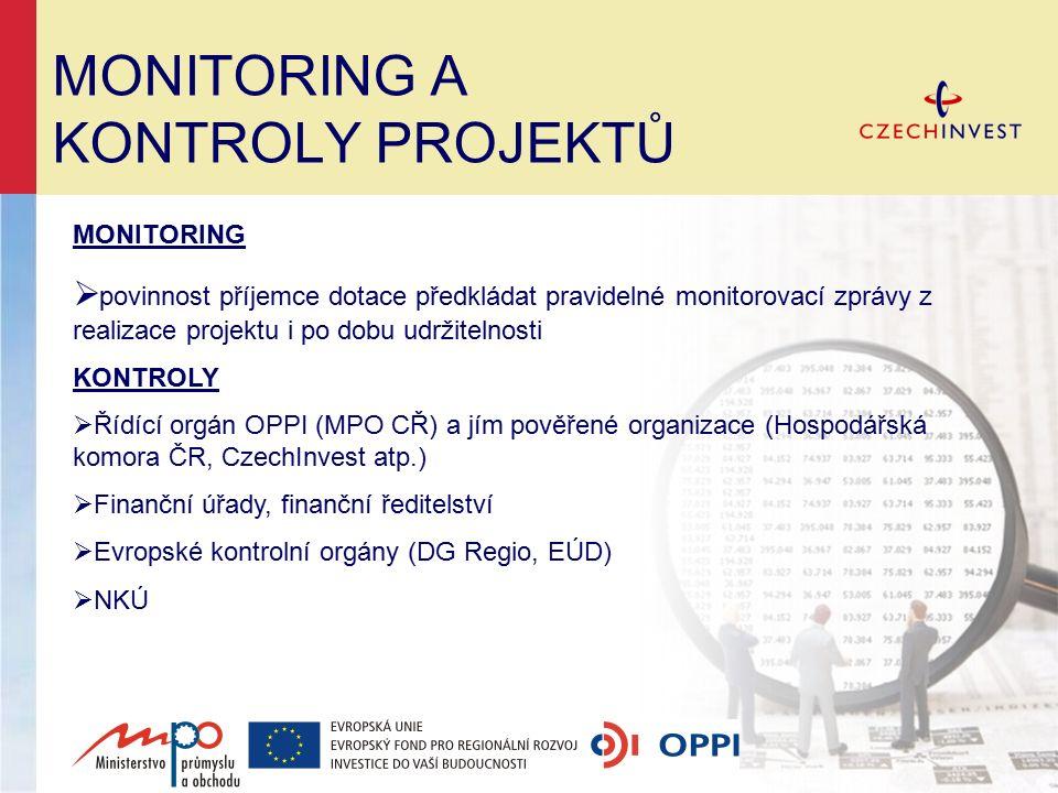 MONITORING A KONTROLY PROJEKTŮ MONITORING  povinnost příjemce dotace předkládat pravidelné monitorovací zprávy z realizace projektu i po dobu udržite