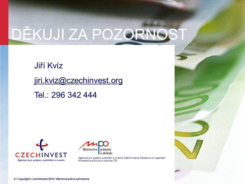 Agentura pro podporu podnikání a investic CzechInvest je příspěvkovou organizací Ministerstva průmyslu a obchodu ČR.