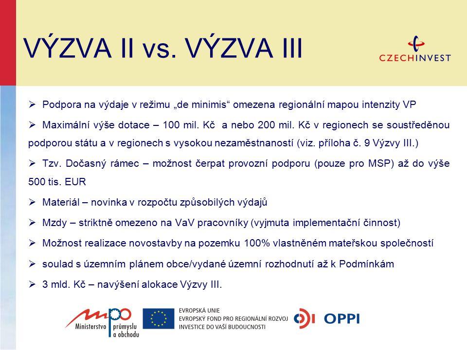 """VÝZVA II vs. VÝZVA III  Podpora na výdaje v režimu """"de minimis"""" omezena regionální mapou intenzity VP  Maximální výše dotace – 100 mil. Kč a nebo 20"""