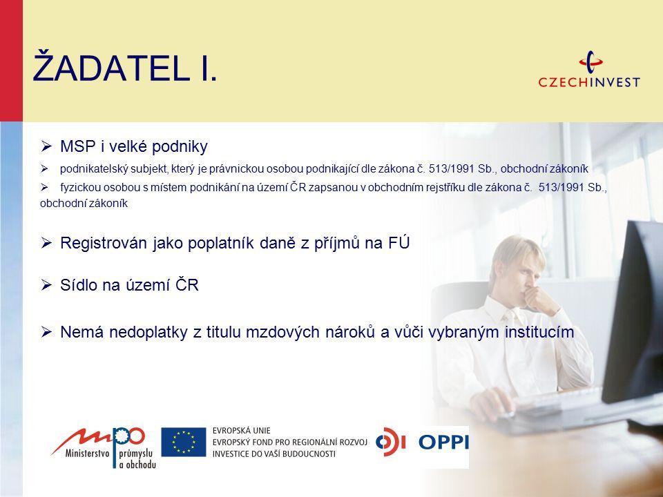 ŽADATEL I.  MSP i velké podniky  podnikatelský subjekt, který je právnickou osobou podnikající dle zákona č. 513/1991 Sb., obchodní zákoník  fyzick