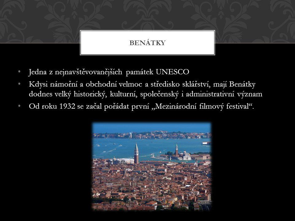 """Jedna z nejnavštěvovanějších památek UNESCO Kdysi námořní a obchodní velmoc a středisko sklářství, mají Benátky dodnes velký historický, kulturní, společenský i administrativní význam Od roku 1932 se začal pořádat první """"Mezinárodní filmový festival ."""