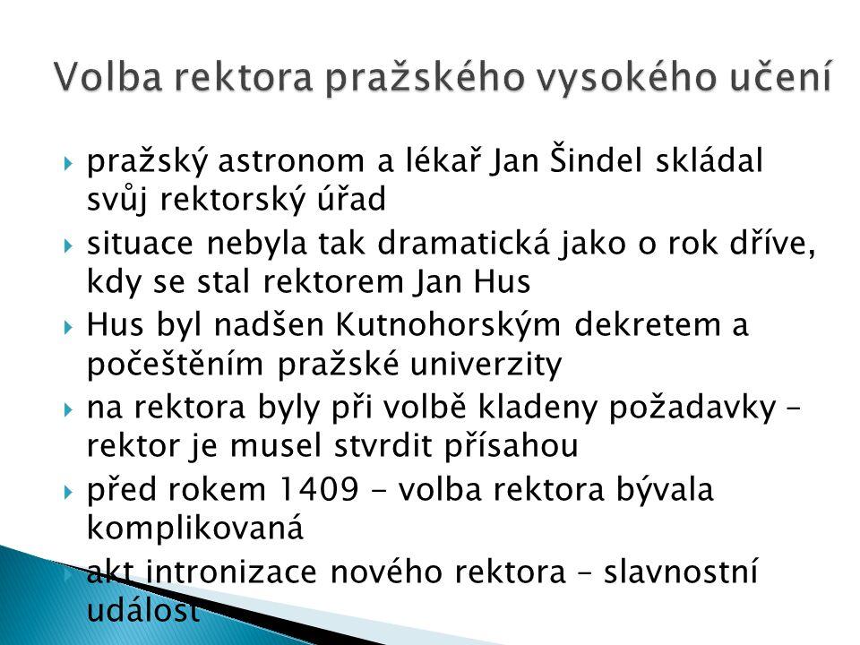  pražský astronom a lékař Jan Šindel skládal svůj rektorský úřad  situace nebyla tak dramatická jako o rok dříve, kdy se stal rektorem Jan Hus  Hus