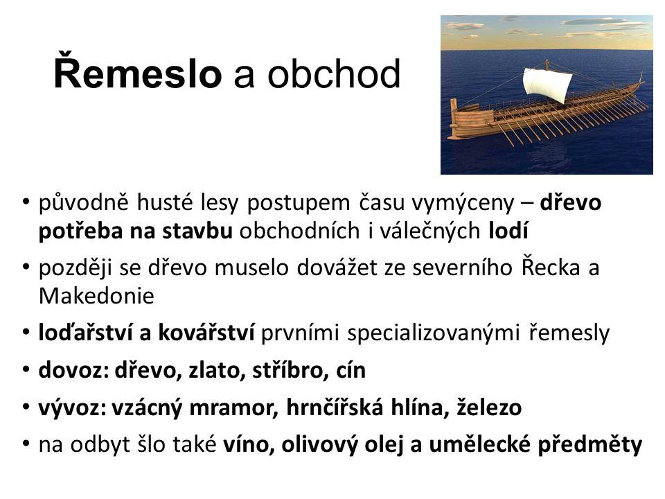 Řemeslo a obchod původně husté lesy postupem času vymýceny – dřevo potřeba na stavbu obchodních i válečných lodí později se dřevo muselo dovážet ze severního Řecka a Makedonie loďařství a kovářství prvními specializovanými řemesly dovoz: dřevo, zlato, stříbro, cín vývoz: vzácný mramor, hrnčířská hlína, železo na odbyt šlo také víno, olivový olej a umělecké předměty