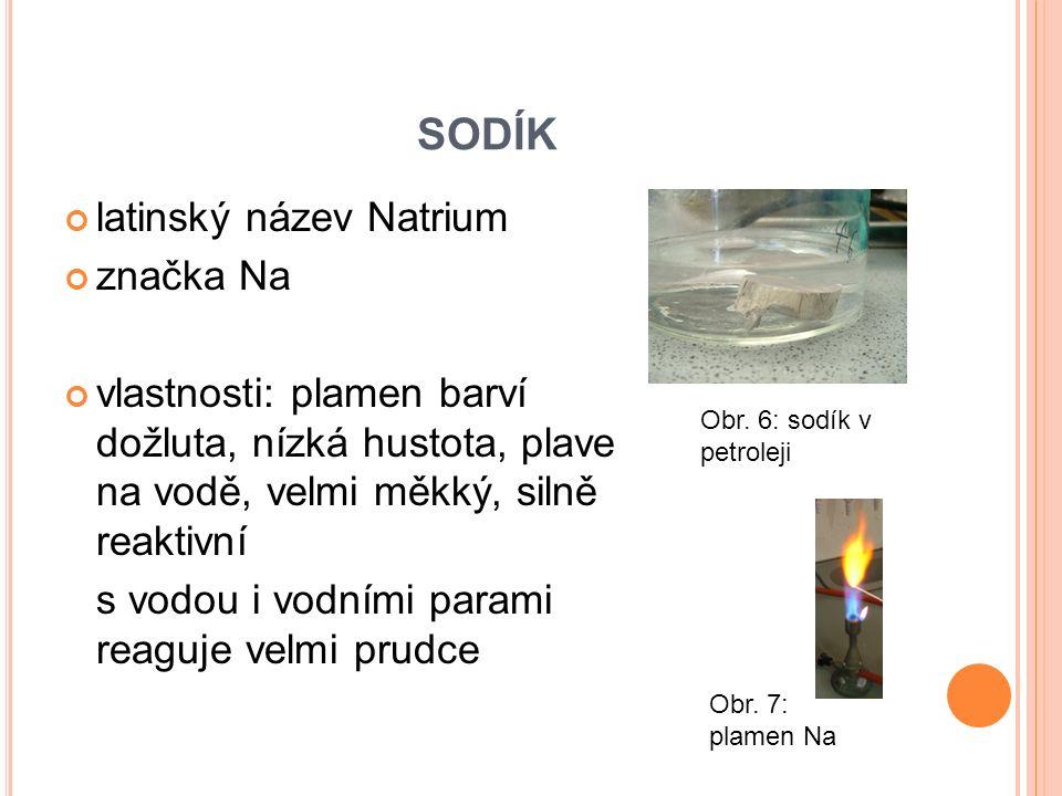 SODÍK latinský název Natrium značka Na vlastnosti: plamen barví dožluta, nízká hustota, plave na vodě, velmi měkký, silně reaktivní s vodou i vodními
