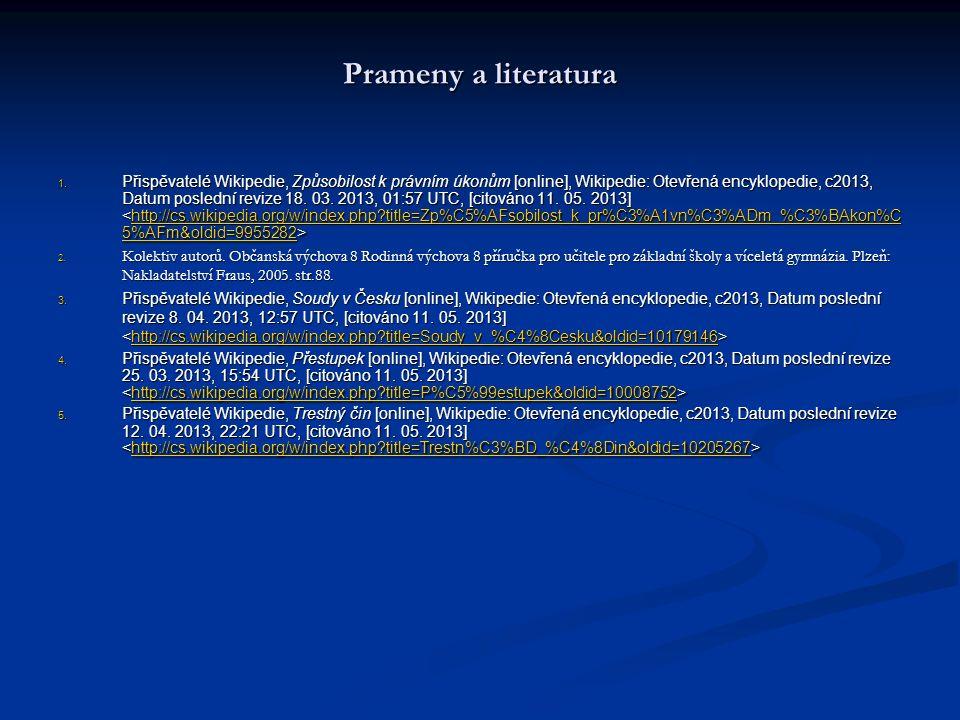 Prameny a literatura 1. Přispěvatelé Wikipedie, Způsobilost k právním úkonům [online], Wikipedie: Otevřená encyklopedie, c2013, Datum poslední revize