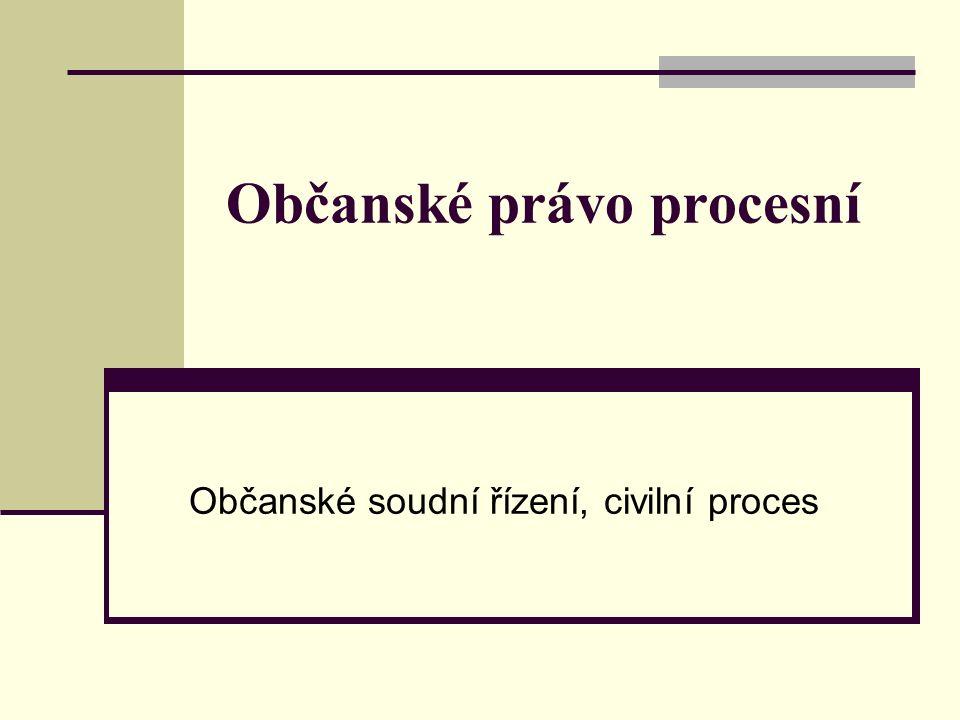 Občanské právo procesní Občanské soudní řízení, civilní proces