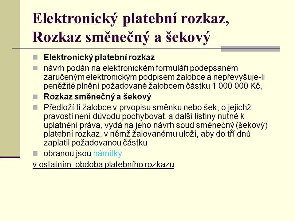 Elektronický platební rozkaz, Rozkaz směnečný a šekový Elektronický platební rozkaz návrh podán na elektronickém formuláři podepsaném zaručeným elektr