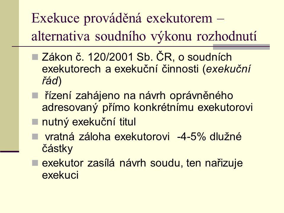 Exekuce prováděná exekutorem – alternativa soudního výkonu rozhodnutí Zákon č. 120/2001 Sb. ČR, o soudních exekutorech a exekuční činnosti (exekuční ř
