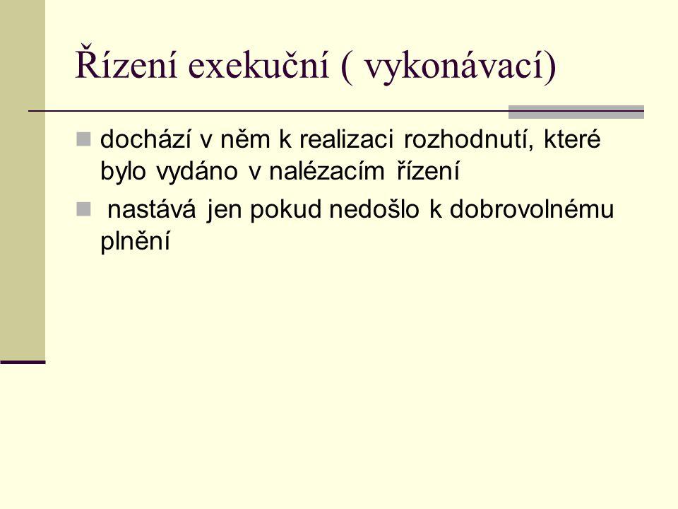 Řízení exekuční ( vykonávací) dochází v něm k realizaci rozhodnutí, které bylo vydáno v nalézacím řízení nastává jen pokud nedošlo k dobrovolnému plně