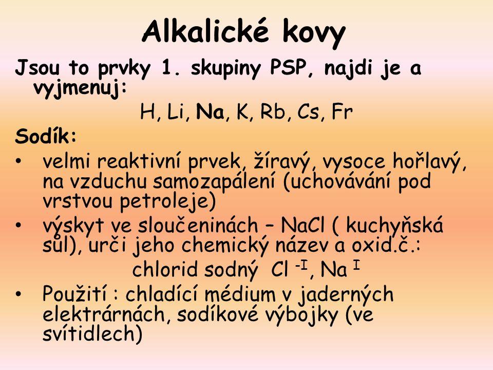 Alkalické kovy Jsou to prvky 1.