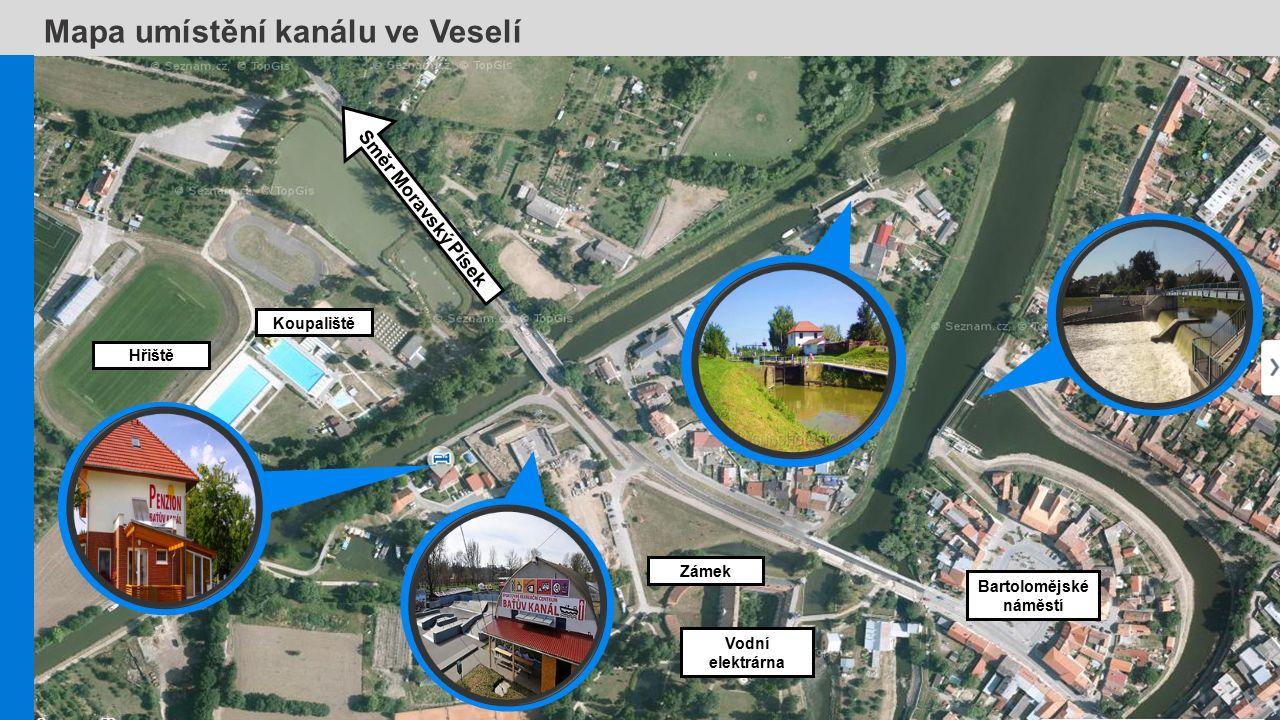 Mapa umístění kanálu ve Veselí Koupaliště Směr Moravský Písek Hřiště Zámek Vodní elektrárna Bartolomějské náměstí