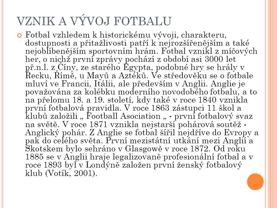 VZNIK A VÝVOJ FOTBALU Fotbal vzhledem k historickému vývoji, charakteru, dostupnosti a přitažlivosti patří k nejrozšířenějším a také nejoblíbenějším s